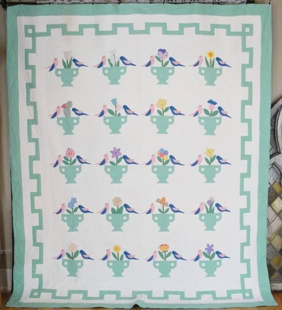 c1930 Birds & Urns Garden Bouquet Quilt Vintage Nancy Page - vintageblessings