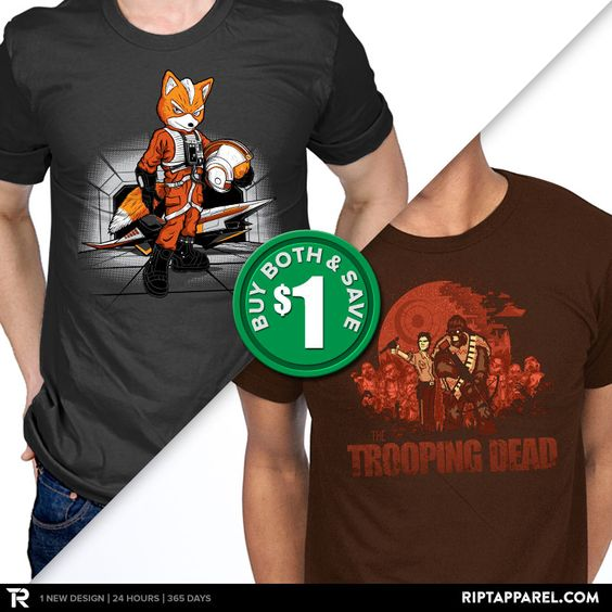 "Get ""Rebel Fox"" from artist DJKopet and ""The Trooping Dead"" from artist Harantula today only, April 8, for $10 at RIPT Apparel. www.riptapparel.com"