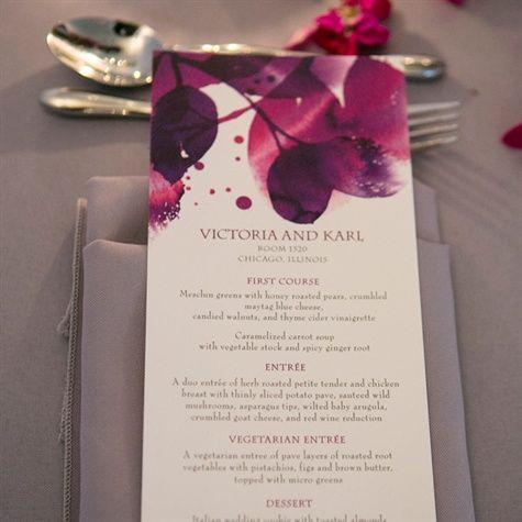 Purple Watercolor Menu Card
