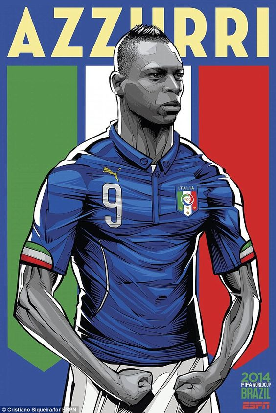 Italy's Mario Balotelli is the man chosen to be on the poster for the Azzurri...