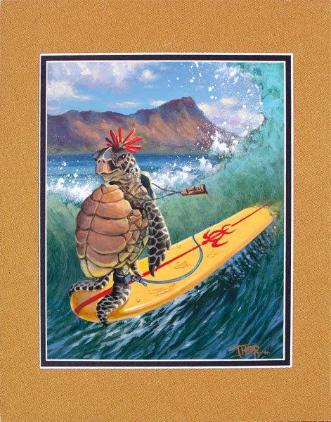 Surfing Turtle Art Print Hawaii Diamondhead Waikiki by Tabooisland, $20.00
