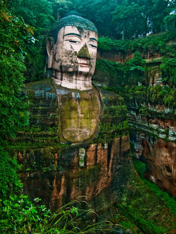 The Leshan Buddha in Sichuan Province, outside of Chengdu, China.: