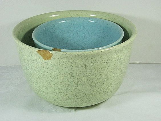 Vintage SPECKLED Mixing BOWL Bauer Set/2 by LavenderGardenCottag etsy