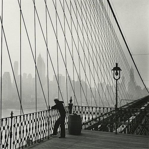 Sailor on the Brooklyn Bridge, New York City, 1950
