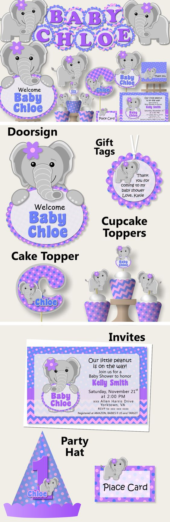 baby girl elephant purple baby and elephant baby showers on pinterest