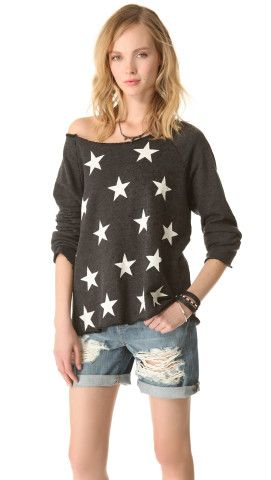 Wildfox Jazzercise Stars Off the Shoulder Top | SHOPBOP | Use Code: EXTRA25 for 25% Off Sale Items