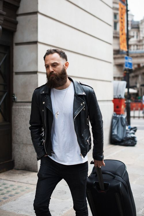 Leather Jacket Beard Style Men Streetstyle Dope Leather