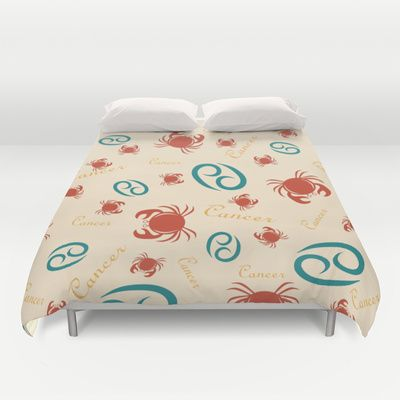 Cancer Zodiac Tossed Repeat Duvet Cover by DAWdesigns - $99.00
