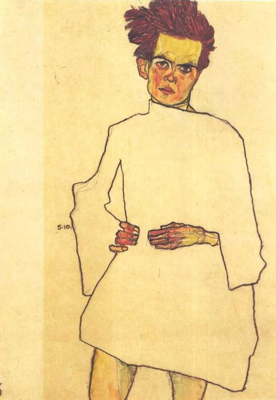 Egon Schiele: Self Portrait in Shirt (1910):