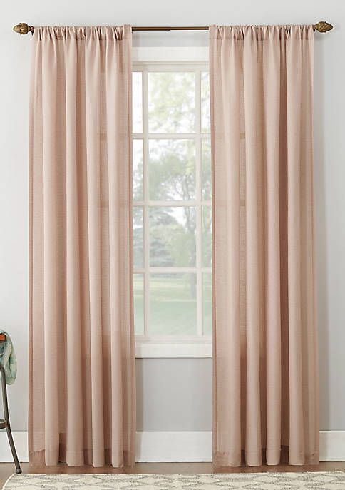 Amalfi Linen Blend Textured Sheer Rod Pocket Curtain Panel In 2020