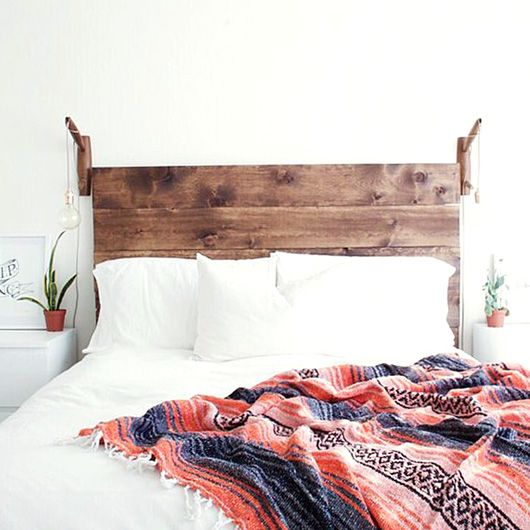 rustic wood headboard in boho bedroom. / sfgirlbybay