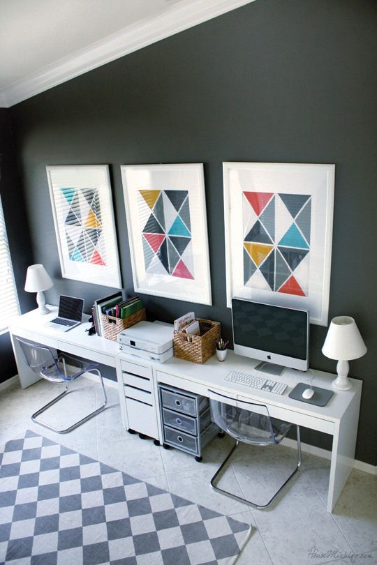 home office and play area in one ikea micke desks tobias chairs and benjamin moore. Black Bedroom Furniture Sets. Home Design Ideas