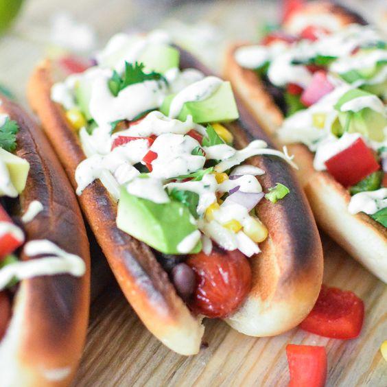 Tex Mex Hot Dogs with Cilantro Cream Drizzle