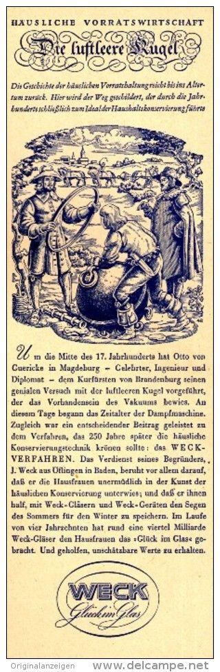 Original-Werbung/ Anzeige 1941 - OTTO VON GUERICKE / WECK EINMACHGLÄSER - ca. 65 x 220 mm