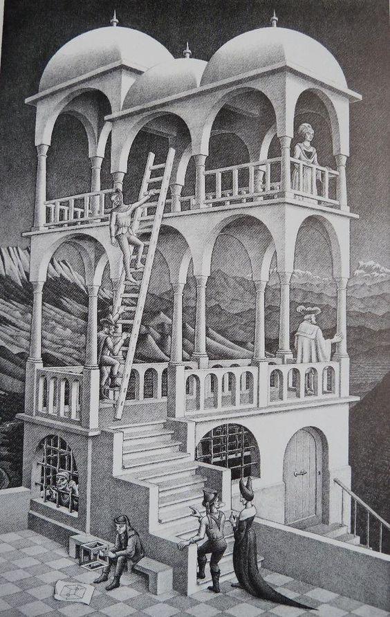 M.C. Esher - Belvedere 1958