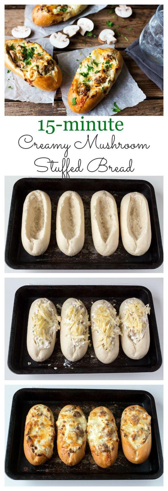 Pan cremoso relleno de ajo y champiñones. [INGLÉS]