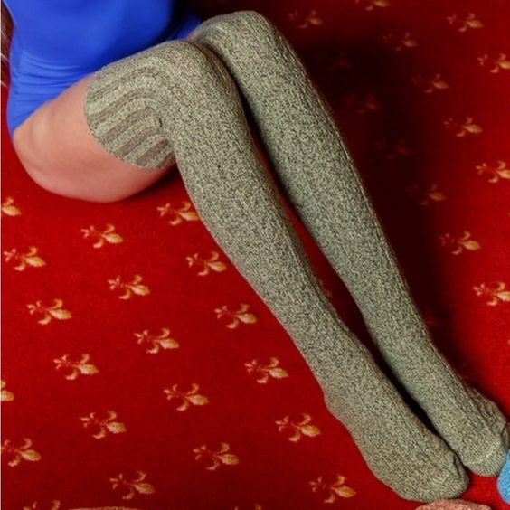 Marled Cable Knit Thigh High Socks in Dried Herb Brand new in package, never worn or sold! High quality, knitted in the USA. 80% cotton, 15% nylon, 5% spandex. Green and black Marled knit. Can be worn so many ways! Ask for your listing with discounted shipping! MSRP $32 but my price is $28! Bundle for even more of a discount! Peony and Moss Accessories Hosiery & Socks