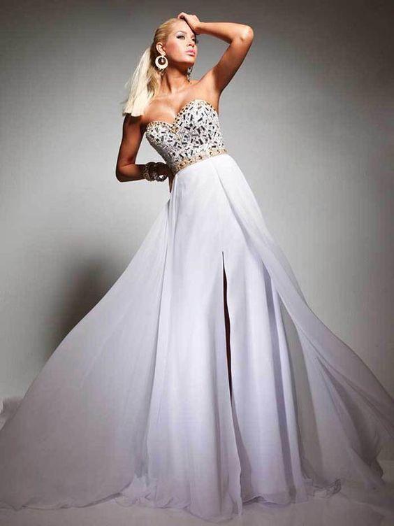 A-line Sweetheart Sleeveless Floor-length Chiffon Evening Dress #FC119