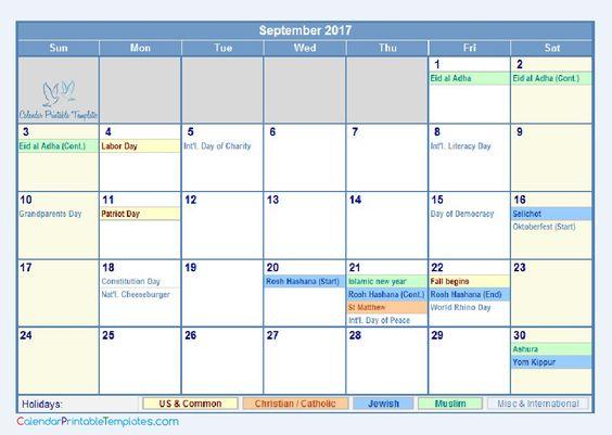 September 2017 Calendar Printable Template    socialebuzz - attendance calendar template