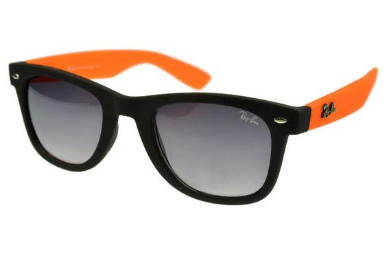 Ray Ban Wayfarer RB1878 Sunglasses Orange/Black Frame Gray Lens