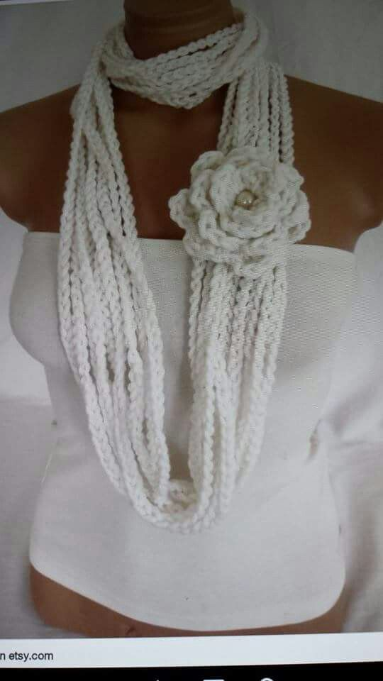 Easy Flower Infinity Scarf