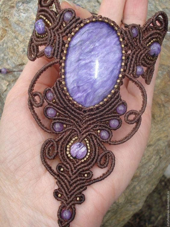 Купить Слейв браслет с чароитом - макраме украшения, аметист натуральный, украшения ручной работы, браслет