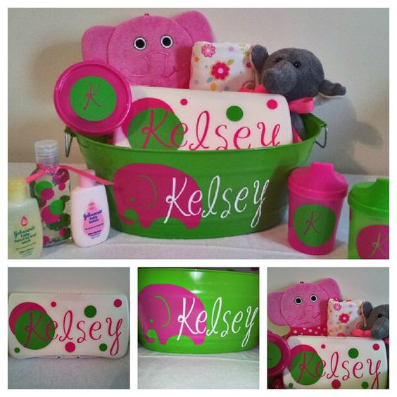 Baby Shower Please Mail Gifts ~ Personalized baby girl gift basket for shower