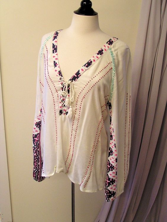 BKE L Casual Embroidery Multi Color Ivory Long Sleeve Rayon Knit Top #Buckle #KnitTop #Casual