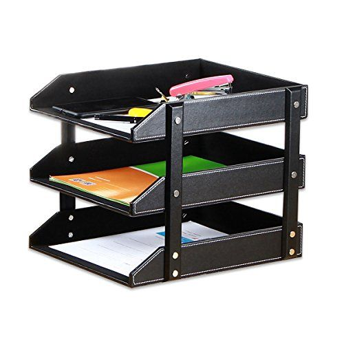 3 Compartments Wrought Iron Letter Storage Rack Tray Holder Desk Orgainser New