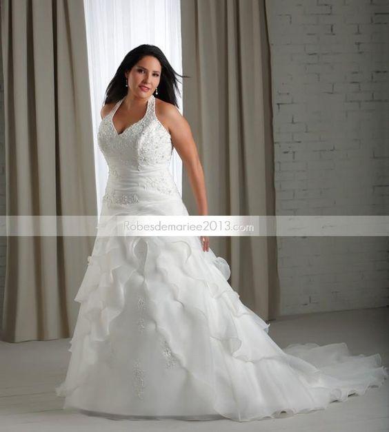 Magnifique A-ligne Licou Longueur sol Chapelle traine à étage Robe de mariée grande taille