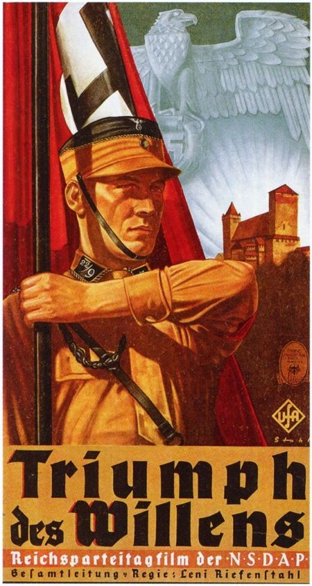 O Triunfo da vontade (1935) - Cartaz do documentário da cineasta Leni Riefenstahl. O documentário, quase sem falas, retrata o 6º Congresso do Partido Nazista Alemão.