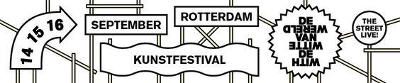 Leuke tip voor dit weekend: De Wereld van Witte de With. 14 september tot en met 16 september in Rotterdam    Op de stoep en op de straat, in de galeries, musea, theaters, modewinkels en café's, maar ook op de gevels, in de bomen en zelfs in het water van de singel: de kunst is overal tijdens De Wereld van Witte de With, het meest onconventionele kunstenfestival van Rotterdam en omstreken.    Bekijk de website voor meer info: http://festivalwww.nl/