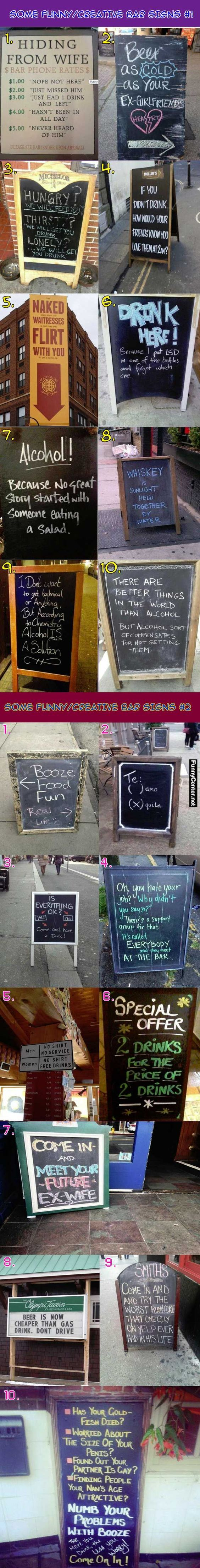 Funny Yet Creative Bar Signs Collection