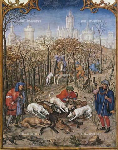 Le fatiche di dicembre: la caccia al cinghiale - Breviario Grimani - manoscritto miniato - scuola Gand-Bruges - 1490-1510 - Venezia - Biblioteca Nazionale di San Marco.