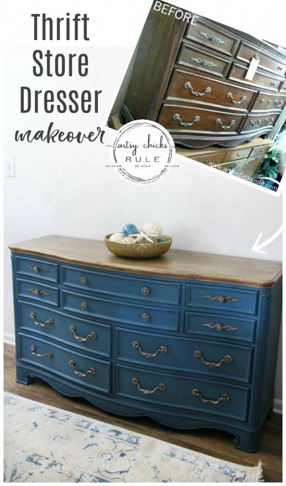 """Aubusson Blue Chalk Paint DRESSER Makeover (again!!!) This time with a """"coastal glam"""" flair!) artsychicksrule.com #aubussonblue #chalkpaint #chalkpaintedfurniture #paintedfurniture #bluefurniture #bluepaint #anniesloan #furnituremakeover #blueandgold #furnituremakeoverideas #furnituremakeoverdiy"""