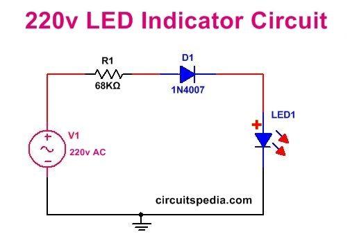 Led Power Indicator Circuit For 230v 240v Ac Mains Single Led On Ac Mains Circuit Led Power
