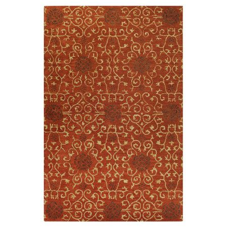 """Bring a pop of style to your living room or den with this hand-tufted wool rug, showcasing a beautiful rust-colored pile and swirling motif.  $375 7'6""""x9'6"""" ..."""