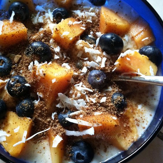 Papaya Blueberry Raw Vegan Nice Cream Breakfast recipe
