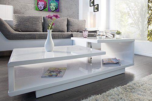 Dunord Design Couchtisch Sofatisch Level 100cm Weiss Hochglanz