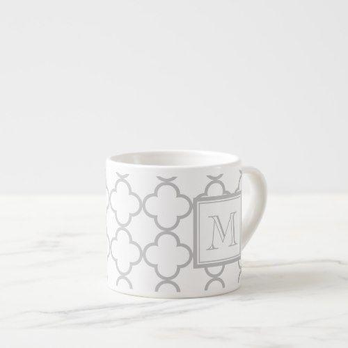 Gray White Quatrefoil Your Monogram Espresso Cup Zazzle Com Espresso Cups Personalized Cups Quatrefoil Pattern