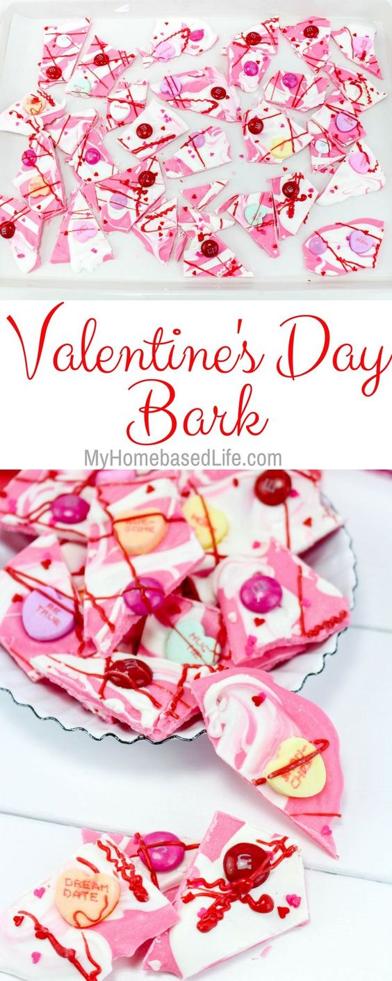 Valentine's Day Bark. With white and pink candy melts. Plus conversation hearts and holiday M&M candies.