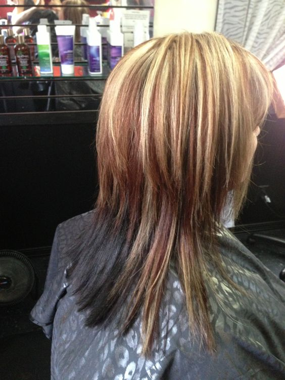 reddish brown lowlight and blonde highlight with dark