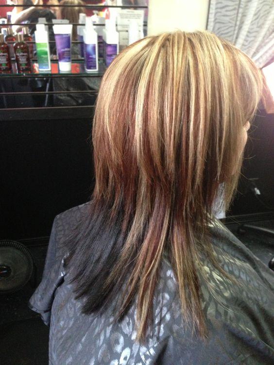 reddish brown lowlight and blonde highlight with dark