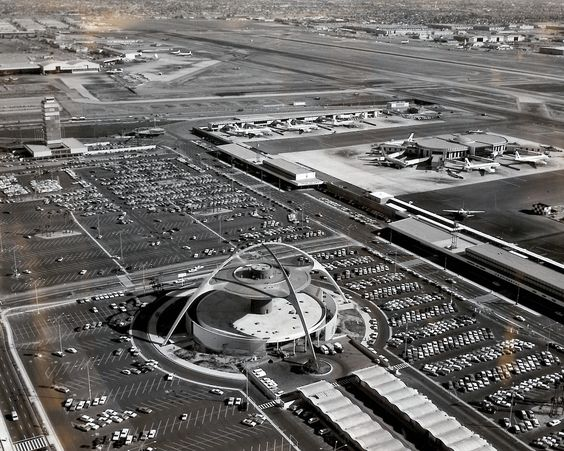 LAX in the 1960s... Theme Building and United Airlines terminal...