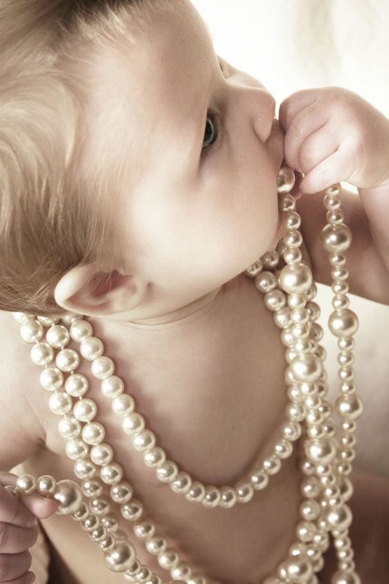 100 Baby Photo Ideas Okay, really, there are only a FEW that are good enough to grab my attention, but the BEST one, HAS to be baby with pearls!!! Cute if you can be more creative with it!