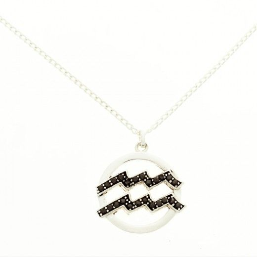 """Aquarius 925 Sterling silver and Black CZ with 16""""chain.FREE SHIPPING IN US.Septimo jewelry.$100"""