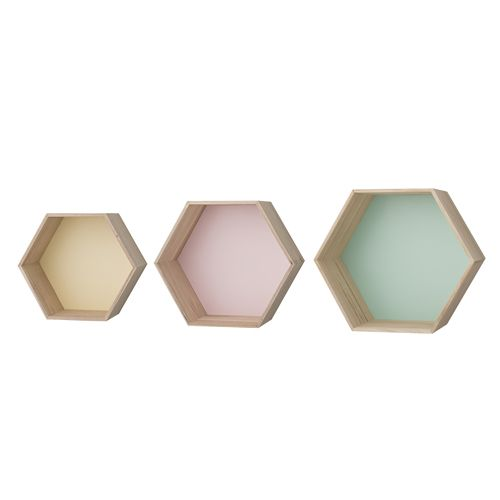 etag re murale hexagonale en bois pastel bloomingville. Black Bedroom Furniture Sets. Home Design Ideas