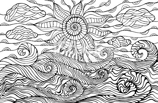 Doodle Sun Clouds And Ocean Waves Coloring Page For Children And Ocean Drawing Mandala Coloring Pages Coloring Pages