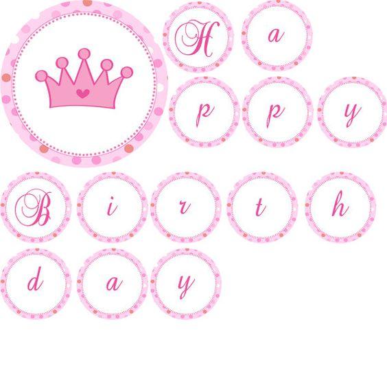 happy birthday crown template - pink princess banner princess happy birthday banner pink