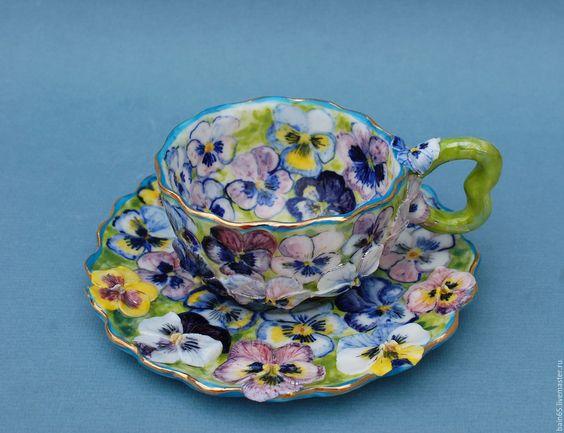 """Купить """"Виоловая клумба.""""Чайная пара. - комбинированный, чайная пара, чайная пара с росписью"""